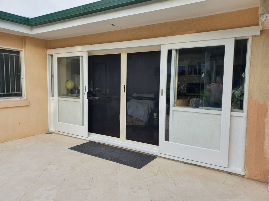 White timber and glass doors.