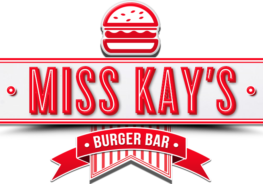 red and white miss kay's burger bar logo